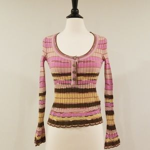 M Missoni knitted scoop neck top